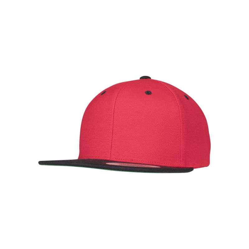 Snapback-keps, röd/svart tvåfärgad Yupoong