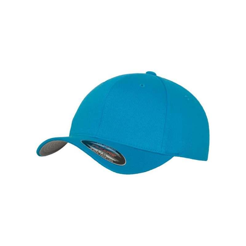 Flexfitkeps, azurblå 6277 med böjd skärm