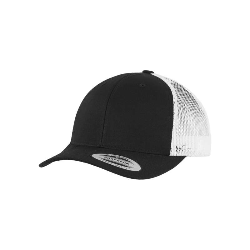 Svart/vit retro truckerkeps 6-panel
