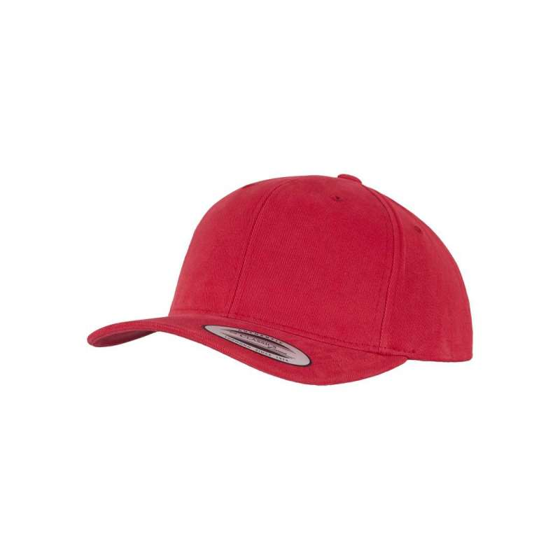 Baseballkeps, röd premium med böjd skärm